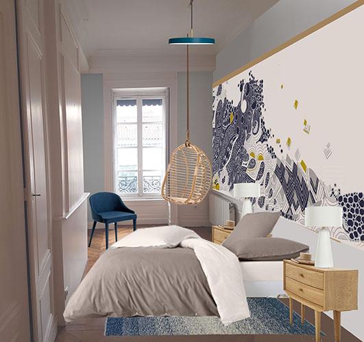 Recherche d'aménagement de chambre avec papier peint sur mesure (création de Véronique Milioni). Réalisation Alexandra Vincent, Hava-design, Lyon.